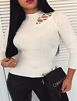 cheap -Women's Solid Colored Blouse Daily Going out White / Black