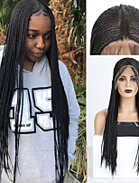 cheap -Synthetic Lace Front Wig Box Braids Plaited Middle Part with Baby Hair Lace Front Wig Pink Long Black#1B Synthetic Hair 18 24 inch Women's Soft Party Women Black Pink
