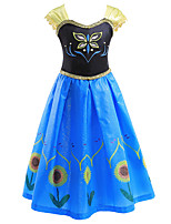 cheap -Princess Anna Dress Flower Girl Dress Girls' Movie Cosplay A-Line Slip Blue Dress Children's Day Masquerade Polyester