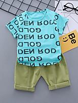 cheap -Toddler Boys' Basic School Baby Shower Blue Print Print Short Sleeve Regular Regular Clothing Set Blue