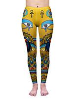 cheap -Women's Sporty Comfort Skinny Gym Yoga Leggings Pants Patterned Ankle-Length Print High Waist Yellow