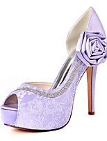 cheap -Women's Wedding Shoes Spring / Summer Stiletto Heel Peep Toe Sweet Wedding Party & Evening Satin Flower Floral Lace White / Light Purple / Pink
