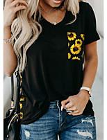 cheap -Women's Floral Leopard Sun Flower T-shirt Daily Yellow / Gray