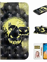 cheap -Case For Huawei P40 / Huawei P40 Pro / Huawei P40 Lite Wallet / Card Holder / with Stand Full Body Cases Moon Skull PU Leather / TPU for Huawei PSMART 2019 / Honor 10 Lite
