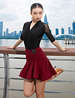 cheap -Latin Dance Skirts Split Ruching Women's Performance High Crystal Cotton