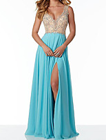 cheap -Sheath / Column Color Block Sparkle Engagement Formal Evening Dress V Neck Sleeveless Floor Length Chiffon with Pleats Beading Split 2020