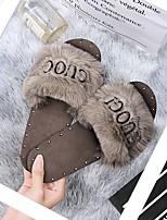 cheap -Women's Slippers & Flip-Flops Fuzzy Slippers Summer Flat Heel Open Toe Daily Suede White / Black / Brown