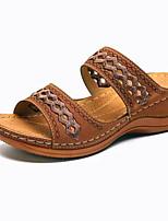 cheap -Women's Sandals / Slippers & Flip-Flops Wedge Sandals Flat Sandal Summer Flat Heel Open Toe Daily PU Black / Red / Khaki