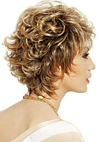 cheap -Synthetic Wig Curly With Bangs Wig Short Light golden Synthetic Hair 12 inch Women's Women Easy dressing Highlighted / Balayage Hair Blonde