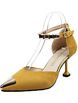 cheap -Women's Sandals Summer Flare Heel Pointed Toe Daily Suede Yellow / Army Green / Black
