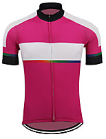 cheap -21Grams Men's Short Sleeve Cycling Jersey Polyester Pink Stripes Gradient Bike Jersey Top Mountain Bike MTB Road Bike Cycling UV Resistant Breathable Quick Dry Sports Clothing Apparel / Stretchy