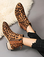 cheap -Women's Boots Fall & Winter Chunky Heel Pointed Toe Daily Suede Mid-Calf Boots Khaki / Brown