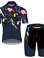 cheap -21Grams Men's Short Sleeve Cycling Jersey with Shorts Blue+Pink Flamingo Floral Botanical Bike UV Resistant Quick Dry Sports Flamingo Mountain Bike MTB Road Bike Cycling Clothing Apparel / Stretchy