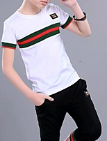 cheap -Kids Boys' Basic Daily Wear Color Block Short Sleeve Clothing Set White