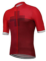 cheap -21Grams Men's Short Sleeve Cycling Jersey Polyester Red Switzerland National Flag Bike Jersey Top Mountain Bike MTB Road Bike Cycling UV Resistant Breathable Quick Dry Sports Clothing Apparel