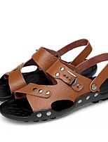 cheap -Men's Summer Casual Daily Sandals PU Non-slipping Light Brown / Dark Brown / Black