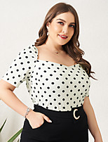 cheap -Women's Plus Size Polka Dot Print Slim Blouse Business Elegant Daily Work Square Neck White