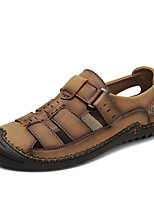 cheap -Men's Fall / Spring & Summer Casual Daily Outdoor Sandals Walking Shoes Nappa Leather Breathable Non-slipping Shock Absorbing Black / Khaki / Brown