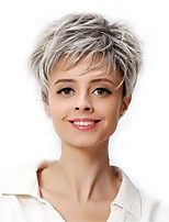 cheap -Synthetic Wig Matte kinky Straight Layered Haircut Wig Short Creamy-white Synthetic Hair 6 inch Women's Cool Ombre Hair Fluffy White