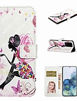 cheap -Case For Samsung Galaxy S20 / Galaxy S20 Plus / Galaxy S20 Ultra Wallet / Card Holder / with Stand Full Body Cases Butterfly Girl PU Leather / TPU for Galaxy A51 / A71 / A80 / A70 / A50 / A30S / A20