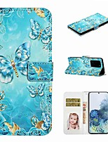 cheap -Case For Samsung Galaxy S20 / Galaxy S20 Plus / Galaxy S20 Ultra Wallet / Card Holder / with Stand Full Body Cases Blue Butterfly PU Leather / TPU for Galaxy A51 / A71 / A80 / A70 / A50 / A30S / A20