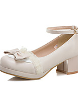 cheap -Women's Heels 2020 Fall / Spring & Summer Chunky Heel Round Toe Sweet Minimalism Party & Evening Office & Career Bowknot PU White / Pink / Beige