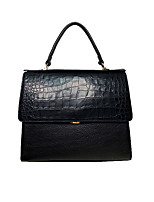 cheap -Women's Zipper Cowhide Crossbody Bag / Top Handle Bag Solid Color Black Grey / Black