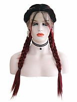 cheap -Synthetic Lace Front Wig Box Braids Middle Part with Baby Hair Lace Front Wig Burgundy Ombre Long Ombre Burgundy Synthetic Hair 18-26 inch Women's Soft Adjustable Party Burgundy Ombre