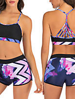 cheap -Women's Two Piece Swimsuit Swimwear Breathable Quick Dry Sleeveless 2-Piece - Swimming Water Sports 3D Print Summer / Stretchy