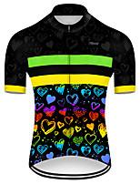Недорогие -21Grams Муж. С короткими рукавами Велокофты Полиэстер Черный / желтый С сердцем Градиент Велоспорт Джерси Верхняя часть Горные велосипеды Шоссейные велосипеды / Слабоэластичная / Дышащий / Дышащий