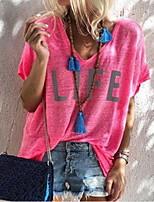 Недорогие -Жен. Буквы С принтом Свободный силуэт Футболка Повседневные V-образный вырез Синий / Красный / Розовый / Пурпурный / Серый
