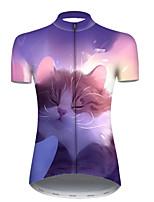 Недорогие -21Grams Жен. С короткими рукавами Велокофты Полиэстер Фиолетовый Галактика Кот Животное Велоспорт Джерси Верхняя часть Горные велосипеды Шоссейные велосипеды / Слабоэластичная / Дышащий / Дышащий