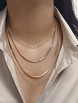 cheap -Women's Choker Necklace Chain Necklace Necklace Snake XOXO Vertical / Gold bar Precious Simple Basic Punk European Gold Plated Chrome Gold Silver 35+10 cm Necklace Jewelry For Party Evening Street