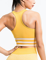 cheap -Women's Sports Bra Medium Support Racerback Removable Pad Fashion Black Yellow Green Gray Elastane Yoga Running Fitness Bra Top Sport Activewear Breathable Comfort Quick Dry Freedom Stretchy