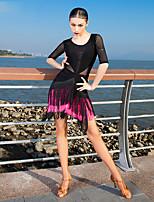 cheap -Latin Dance Dress Tassel Women's Performance Half Sleeve Tulle Milk Fiber