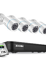 cheap -ZOSI H.265 AHD CVI TVI CVBS Analog 8CH CCTV System 4PCS 1080p Outdoor Weatherproof Security Camera with 720P DVR Kit Day/Night Home Video Surveillance System