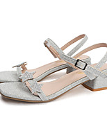 cheap -Women's Sandals Summer Block Heel Open Toe Casual Daily Outdoor Polyester Gold / Silver