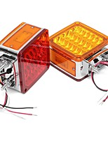 cheap -2pcs Car 39 LED Lights 12V Amber/Red Double Stud Mount Pedestal Cab Fender Dual Face Stop Turn Tail Signal Lamps