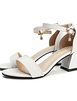 cheap -Women's Sandals Summer Chunky Heel Open Toe Casual Daily Buckle PU White / Black