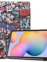 Недорогие -чехол для samsung galaxy tab s6 lite (sm-p610 / 615) / tab s6 t860 / 856 / tab s5e t720 10.5 футляр для карты / флип / рисунок с чехлом для тела graffiti pu кожа для samsung galaxy tab a 10.1 (2019)