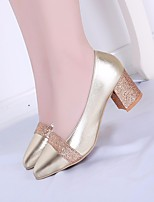 cheap -Women's Loafers & Slip-Ons Summer Chunky Heel Open Toe Daily PU Gold
