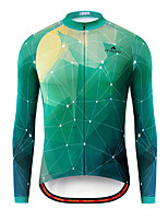 cheap -Miloto Men's Long Sleeve Cycling Jersey Green Bike Jersey Top Mountain Bike MTB Road Bike Cycling Breathable Quick Dry Sports Clothing Apparel / Stretchy