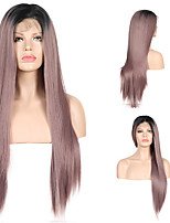 cheap -Synthetic Lace Front Wig Straight Side Part Lace Front Wig Ombre Long Ombre Purple Synthetic Hair 18-26 inch Women's Cosplay Soft Party Purple Ombre