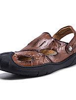 cheap -Men's Summer Casual Daily Sandals Walking Shoes Nappa Leather Breathable Light Brown / Dark Brown / Black