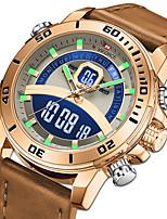 Недорогие -NAVIFORCE Муж. Спортивные часы Японский Кварцевый Спортивные Натуральная кожа Синий / Коричневый / Небесно-голубой 30 m Защита от влаги Календарь Секундомер Аналого-цифровые На каждый день -
