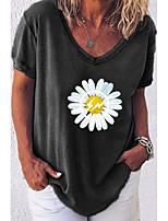 cheap -Women's Floral Print T-shirt Daily V Neck White / Black / Blue / Army Green / Fuchsia / Gray