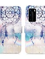 Недорогие -чехол для huawei huawei p40 pro / p40 lite e / p40 lite держатель карты / противоударный / откидная задняя крышка ловец снов искусственная кожа / тпу