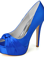 cheap -Women's Wedding Shoes Spring / Summer Stiletto Heel Peep Toe Minimalism Wedding Party & Evening Solid Colored Satin White / Black / Purple