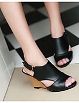 cheap -Women's Sandals Wedge Sandals Heel Sandals Summer Wedge Heel Peep Toe Daily Solid Colored Suede White / Black / Pink