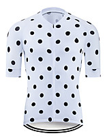 cheap -21Grams Men's Short Sleeve Cycling Jersey Polyester Black / White Polka Dot Bike Jersey Top Mountain Bike MTB Road Bike Cycling UV Resistant Breathable Quick Dry Sports Clothing Apparel / Stretchy